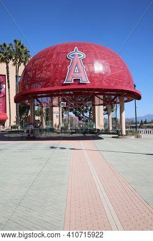 Anaheim, California - USA - March 1, 2021:  Angel Stadium of Anaheim, originally known as Anaheim Stadium and later Edison International Field of Anaheim, is a modern-style ballpark. Editorial Use.