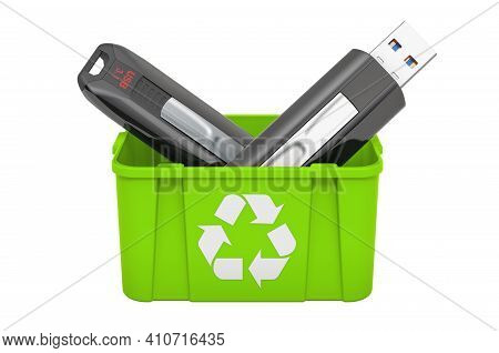 Recycling Trashcan With Usb Flash Drive, 3d Rendering Isolated On White Background