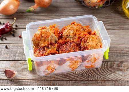 Frozen Meatballs From Beef And Pork With Vegetables In A Container In The Freezer, Frozen Food