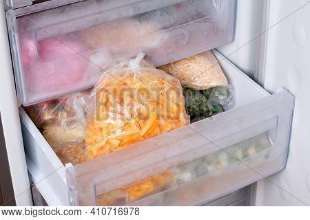 Frozen Vegetables In A Bag In The Freezer. Frozen Bell Peppers, Frozen Food