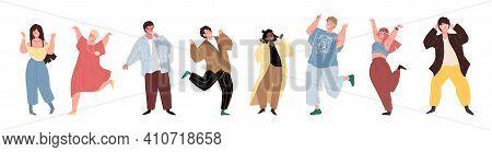 Set Of Vector Cartoon Flat Trendy Characters Friends In Joyful Happy Mood.young People Celebrate Suc