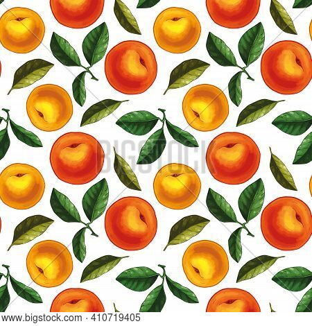 Seamless Pattern Design With Hand Drawn Illustrations Of Peach And Peaches Leaves