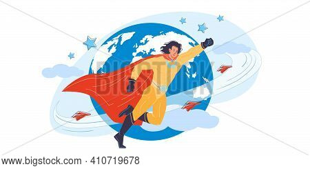 Vector Cartoon Flat Superhero Character In Cape Protecting Humanity - Web Online Site Banner, Mass P