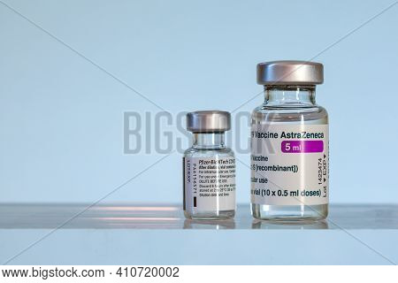 Montreal, CA - 1 March 2021: Vials of Astrazeneca and Pfizer BioNTech Covid-19 vaccines