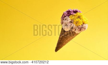 Cute Bouquet As A Gift For Mother Day. Beautiful Multi-colored Bouquet Lying On A Yellow Background.
