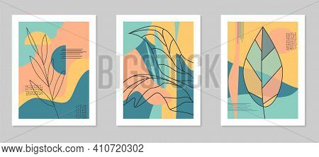 Floral Wall Art Set. Botanical Line Art With Abstract Shapes.vector Modern Illustration In A Minimal