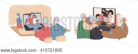 Vector Cartoon Flat Elderly Characters Online Talk With Family.old People Granny Grandpa Enjoy Conve