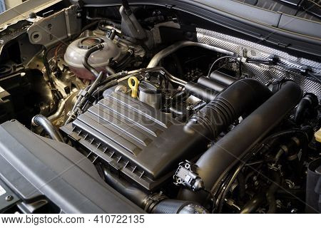 Moscow  Russia - March 02 2021:top View Of A Modern Engine. In The Foreground Is The Air Filter Hous