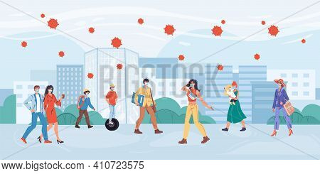 Vector Cartoon Flat Characters On Walk In Pandemia Time.various People Walks Outdoor In Face Masks-c