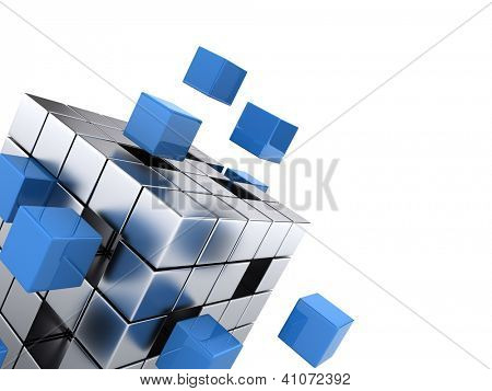 teamwork business concept - cube assembling from blocks poster