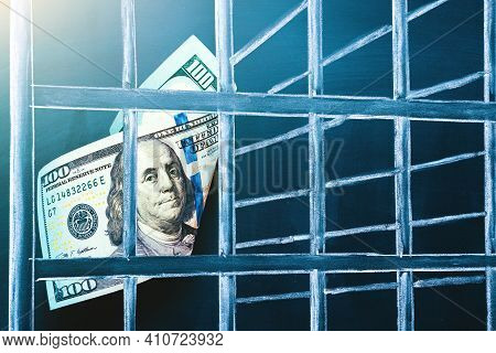 100 Us Dollar Bill In Prison. Investment Trap, Boycott Currency Concept. The Concept Of Penalty For