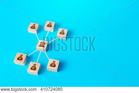 Linked Blocks Of Bank And World Currencies Money Bags. Financial System, National Reserve System Con