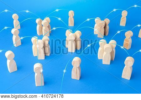 Groups Of People And Persons Connected By Lines Form A Social Network. Communication, Interaction An