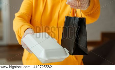 Takeaway Food Paper Bag, Styrofoam Container. Food Bag Lunch Mock Up Package To Go In Takeaway Resta