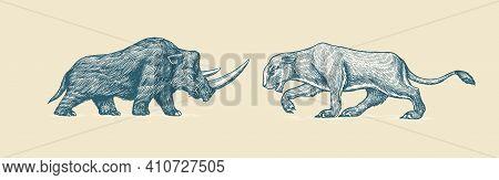 Woolly Rhinoceros And European Cave Lion. Panthera Spelaea. Extinct Animal. Ice Age. Vintage Retro V