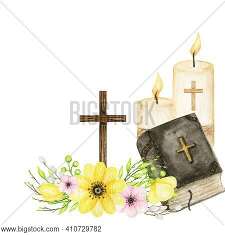 Wooden Christian Cross With Flowers, Bible, Vandles. Catholic Church Floral Cross Composition Isolat