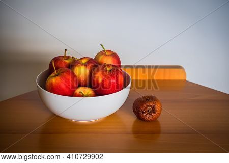 A Rotten Apple Fallen From A White Bowl Full Of Good Apples Posed On A Modern Wooden Table