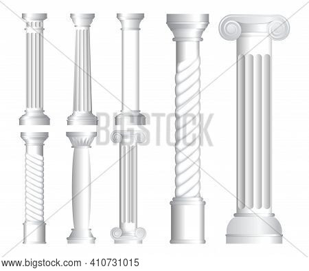 Set Of Realistic Antique Columns Or Realistic Antique Temple Or White Antique Column With Ribbing Co