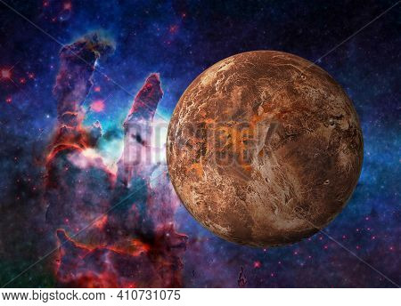 Fiction Red Planet Mars Somewhere In Space Near Pillars Of Creation. Selective Focus. Science Fictio