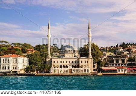 View On The Bank Of Bosporus Strait With Beylerbeyi Hamid-i Evvel Mosque, Baroque Styled Two Minaret