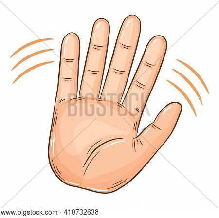 Wave Hand Greeting Gesture Sign. Hello Or Invitation Welcome Friendly Gesturing. Human Palm Moving.