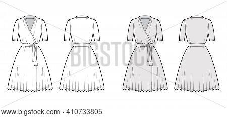 Wrap Dress Technical Fashion Illustration With Deep V-neck, Short Sleeves, Knee Length, Circular Cut