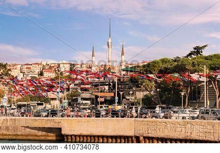 Istanbul, Turkey - 09 07 2020: View On Waterfront Of Bosporus Strait And Uskudar Harem Sahil Yolu St