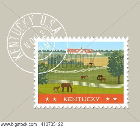 Kentucky Postage Stamp Design. Vector Illustration Of Horses Grazing In Green Fields With Stables In