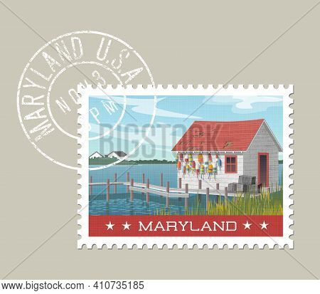 Maryland Postage Stamp Design. Vector Illustration Of Fishing Shack, Colorful Buoys And Pier At Wate