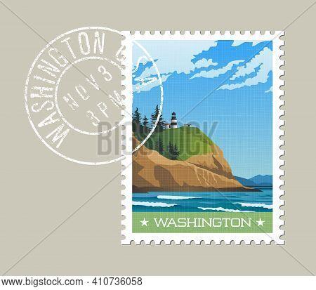 Washington State Postage Stamp Design. Vector Illustration Of Rugged Shoreline And Lighthouse. Cape
