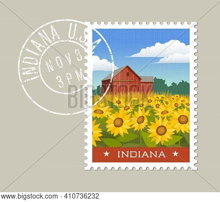 Indiana Postage Stamp Design. Vector Illustration Of Rural Scenic Red Barn With Sunflowers. Grunge P