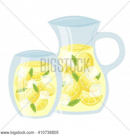 Lemonade In Glass Cup And Pitcher Cartoon Icon. Lemon Squash With Mint Leaves. Cold Soft Drink.