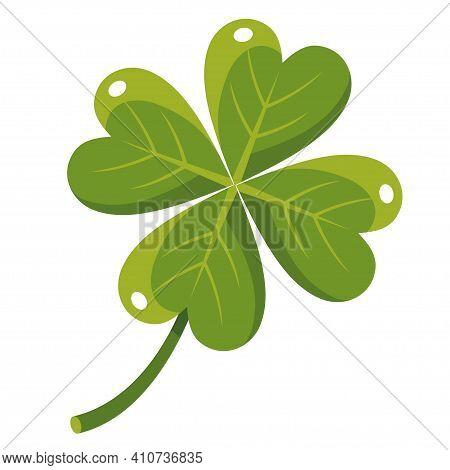 Quatrefoil Cartoon Icon. Clover Leaf With Four Petals, Saint Patrick Day Irish Holiday Symbol. Good