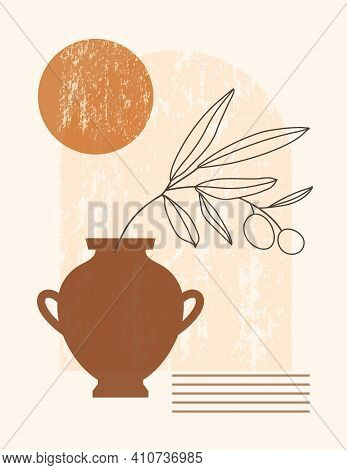 Abstract Boho Illustration With Arch, Vase And Sun In Trendy Minimal Style. Vector Contemporary Back