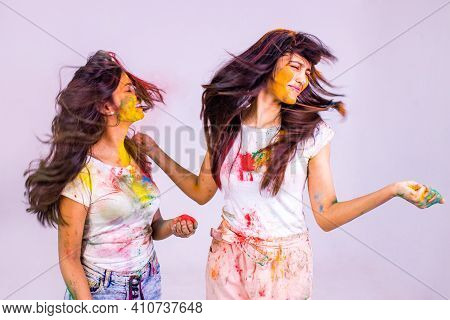 Portrait Of Happy Indian Person On Holi Color On White Cotton T-shirt