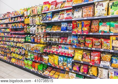 Hanoi,vietnam - March 1,2021 -many Snack And Candy Brand Sale On The Shelf In A Convenience Store,va