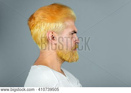 Side Profile Closeup Portrait Of Serious Man. Dyed Beard And Mustache. Looks Seriously, Isolated