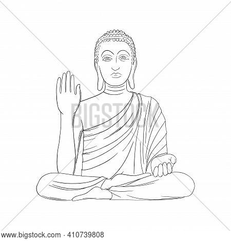 Buddha Isolated In White Background. Buddha Statue With One Hand Up. Outline Vector Illustration