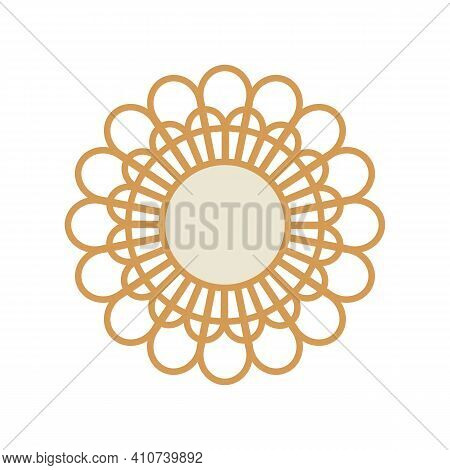 Abstract Flower Illustration, Bohemian Wall Decor Accents, Boho Mirror Isolated On White Background