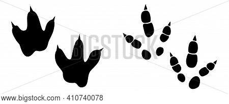 Dinosaur Footprint Tracks Vector Set Illustration. Background With Paw, Claw Predator. Dinosaur Foot