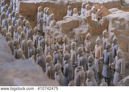Xian, China - Feb 9, 2020 : The Terracotta Army Warriors At The Mausoleum Of Sculptures Depicting Th