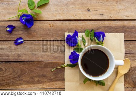 Colorful Pink, Red Flowers Cosmos In Spring Season With Hot Coffee Espresso Arrangement Flat Lay Pos