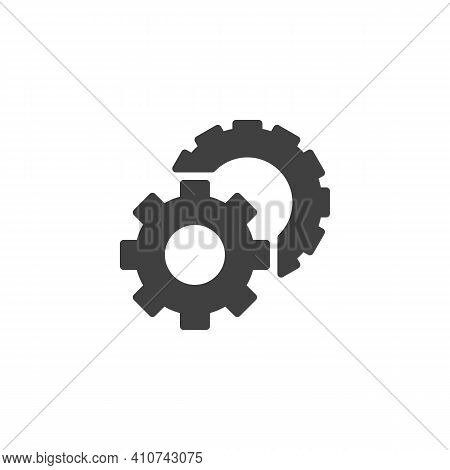 Preferences Gear Vector Icon. Cogwheels Filled Flat Sign For Mobile Concept And Web Design. Settings
