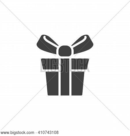 Gift Box With Ribbon Vector Icon. Filled Flat Sign For Mobile Concept And Web Design. Gift Box Glyph
