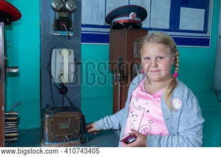 Russia - August 24, 2020. A Child On A Tour In The Old Railway Station. The Room Of The Russian Rail