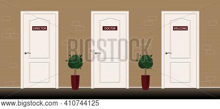 Three Door With Sign Director, Doctor, Welcome. Office Lobby With Doors.