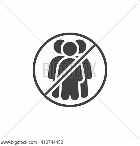 No Crowd Of People Vector Icon. Filled Flat Sign For Mobile Concept And Web Design. Social Distancin