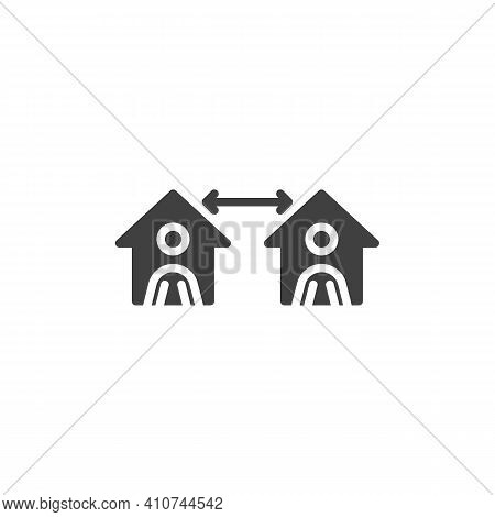 Quarantine Social Distancing Vector Icon. Filled Flat Sign For Mobile Concept And Web Design. Keep D