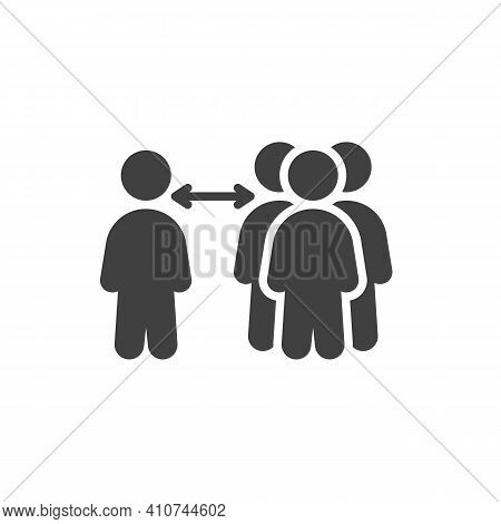 Social Distancing At Public Place Vector Icon. Filled Flat Sign For Mobile Concept And Web Design. K