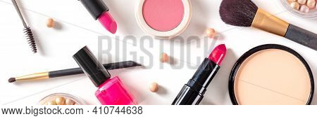 Makeup Panorama, Shot From The Top. Many Different Cosmetic Products